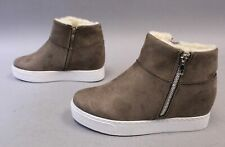 Bamboo Women's Rise Faux Fur Lined Sneaker Wedge Shoes TM8 Taupe Size US:7