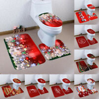 Christmas 3Pcs Set Bathroom Non-Slip  Pedestal Rug+Lid Toilet Cover+Bath Mat Red