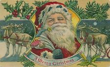~Santa Claus with Reindeer~Holly~Antique Christmas Postcard-a56