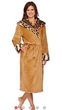 Dennis Basso Snuggly Plush & Faux Fur Hooded Robe NEW TIGER 2X QVC