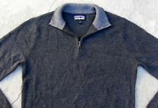 PATAGONIA CASHMERE 1/4 ZIP PULLOVER SWEATER Men's Small Dark gray