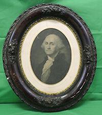 ANTIQUE WOOD / PLASTER OVAL A.P.C. BONTE FRAMED GEORGE WASHINGTON ENGRAVING