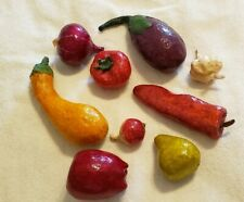 Lot of 9 Vintage Paper Mache MIxed Vegetable Fruit  Eggplant Squash Pepper Pear