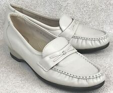 Womens SAS 6.5M Loafers Beige Bone Leather Slip-On Shoes Mocassins Tripad