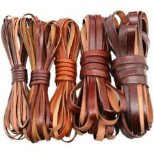 Coffee Genuine Real Leather Flat Cord DIY Crafts Strap Rope String Bracelet Long