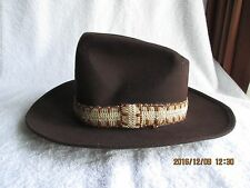 Vintage The Round Up Men's Western Cowboy Large Brown Wool Hat Braid Band New