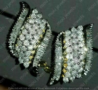 3.00 Carat White Diamond Cluster Hoop Omega Back Earrings 14k Yellow Gold Finish