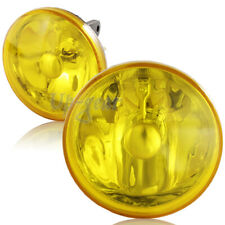 """Chrome Housing Yellow Lens 4"""" Round Universal Driving Fog Lights Lamps+Switch"""