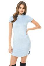 AX Paris Womens Mini Bodycon Dress Blue Faux Suede Short Sleeve Casual Ladies 8