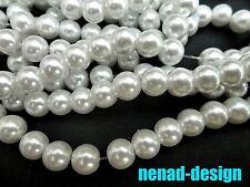 110 Glasperlen PERLMUTT WEIß rund ca. 7,5mm STRANG Perlen nenad-design