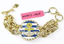 $65 Betsey Johnson SHIP SHAPE Anchor Nautical Medallion Toggle Bracelet  NEW
