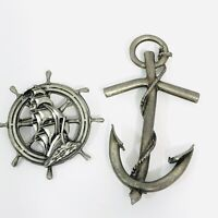 Vintage Pewter Naval Pin Set of 2 Nautical Brooches