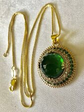 GOLD STERLING SILVER 925 ROSE CUT EMERALD & PAVE CLEAR STONES PENDANT NECKLACE