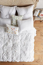 NEW 3 PC ANTHROPOLOGIE LAZYBONES ROSETTE FULL QUILT & Standard shams White