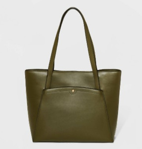 Women's Faux Leather Magnetic Closure Tote Handbag - A New Day - Olive - S* P15