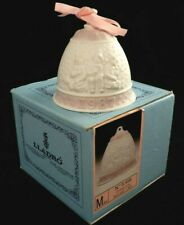 Lladro 1987 Signed Porcelain Christmas Bell Ornament 5458 Pink in Original Box
