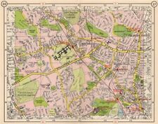 N LONDON. Southgate Friern Barnet Palmer's Green Bowes Park Wood Green 1953 map