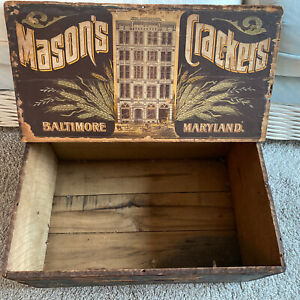 Antique Mason's Wood Crate Cracker Biscuit Box Baltimore Paper Label