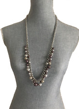"""New Long Trendy Necklace Made with Swarovski Pearls & Beads 32.5"""" Silver /Mauve"""