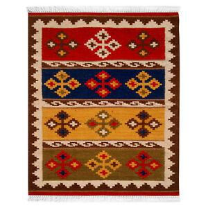 Handmade Woollen Kilim Dhurrie Hand-Woven Kelim 3x5 ft Turkish Oriental Area Rug