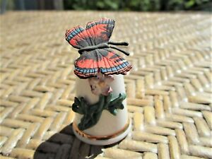 Vintage Thimble Sterling Classic Porcelain & Pewter Butterfly Made in England