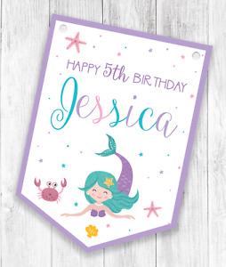 Personalised Mermaid Happy Birthday Bunting  - Children's Party Banner / Garland