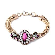 Exquiste Anthropologie Lucrezia Pink White Green Beaded Gold Bracelet