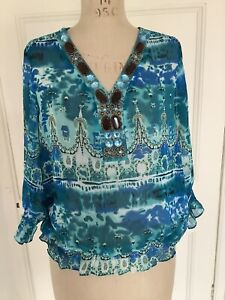 Marc Bouwer Sheer Floaty Top With Bead Embellishments Blues Size L