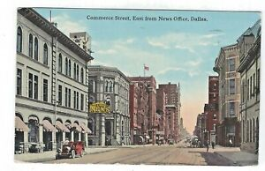 Commerce Street, East from News Office, Dallas, Texas Vintage Postcard