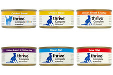 Pet Project Thrive Complete Cat Food 100% Real Meat Fish 12x 75g Tin Wet Natural