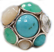 New IPPOLITA Multi Stone Turquoise Quartz Chrysoprase Dome Silver Ring 7