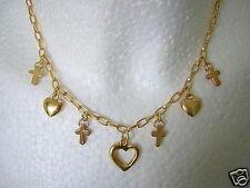 Goldfarbene Modeschmuck Kette mit Kreuz/Herz Anhängern & Strassbesatz 17,1g/40cm
