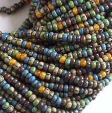 """6/0 Czech Seed Beads, Caribbean Striped Aged Picasso Mix 1/20"""", Preciosa 4mm"""