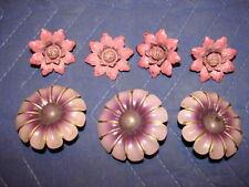 7 Vintage Tin Metal Tie Backs - Flowers & Flowers