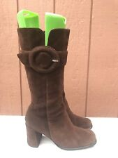Steve Madden VTG 90s Go Go Brown Suede Boot Chunky Heel Square Toe Buckle US 6M