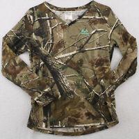 REALTREE Camo Camouflage V Neck Long Sleeve Base Layer Shirt Youth Medium