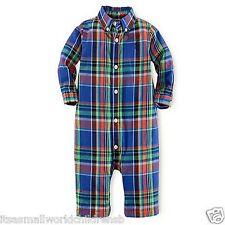 Baby Boy Ralph Lauren Workshirt Blu Plaid Babygrow 9/12m 100% COTONE 80cm NUOVO CON ETICHETTA