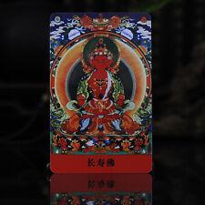 """3.4"""" Tibet Tibetan Buddhism painting Amulet thangka Amitabha Longevity Buddha"""