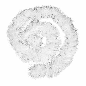 Thick Chunky Luxury Christmas Tree Tinsel Fluffy Hanging Decoration - White