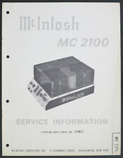 McIntosh mc-2100 Original Power Amplifier service-manual/Diagram/Parts list o175