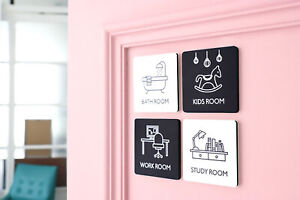 THEHAKI Sandwich Door Sign Pictogram Modern Design For Kids Room Home Decor