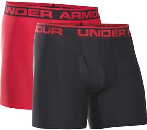 "Under Armour 2-Pack Men's Underwear 6"" Boxerjock Boxer Briefs Red Black UA Tec"