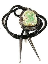 Vintage Native American Coin Silver Turquoise Bolo Leather Cord By PJ 52617