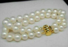 """White Pearl Bracelet 7.5-8""""L14K Gold Clasp Double Strands South Sea Aaa 8-9Mm"""