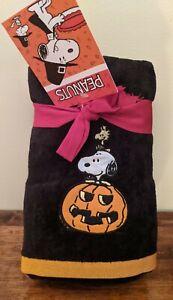 New Peanuts Snoopy Woodstock Pumpkin Halloween Hand Towels 2 pk
