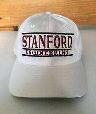 Vintage Stanford Engineering Baseball Hat The Game Brand White Cap Burgundy 90s