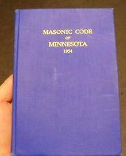 Masonic Code of Minnesota 1954 Hardcover book w/ Amendment insert
