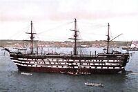 Postcard, HMS Impregnable in the Hamoaze off Devonport Dockyard in the 1890s O87