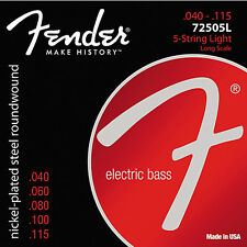 Fender 72505L Nickel Plated Steel Electric Bass Guitar Strings 40-115; 5-string