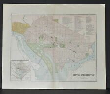 Antique Color map of The City of Washington Circa 1895. Nice detail